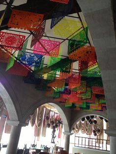 """The ceiling decoration at El Patio, the Mexican Restaurant at Dreams Riviera Cancun Resort & Spa, represents traditional """"Papel picado"""" which origings comes from Puebla state dated from 19th century."""