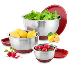 Blümwares 3-Piece Stainless Steel Mixing Bowls with Lids and Non-Skid Rubber Grip Bottoms | Set of 3 -- Awesome product. Click the image : Baking Tools and Accessories