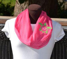 Monogrammed Scarf Infinity Scarf Hot Pink Framed by byrdlegs, $25.00