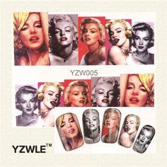 YZWLE 1 Foglio di Colore Donne grafica Nail Art Decalcomanie Acqua Trasferimento Adesivi, Manicure Decor Strumento Chiodo Della Copertura Wrap Decal (YZW-005)