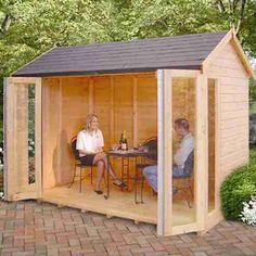 10 x 8 Shire Blenheim Summerhouse & Monte Carlo 12x6 Wooden Garden Summerhouse Sunroom With French Doors ...
