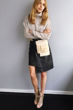 How many snacks do you think you fit in the pocket? At least three, right? Shop this look: Burberry Brit Stackholme Suede Ankle Boots, $950; J.Crew Cashmere Turtleneck Sweater, $230; Alexander Wang Patchwork Leather Skirt, $1,295 Look De Pernille