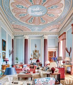 Mark Gillette designed the Claremont-fabric window treatments to match the dusky pink he used on the ceiling of this apartment in England.