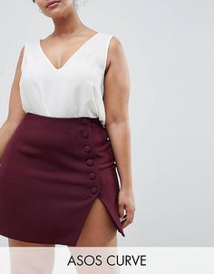 ASOS DESIGN Curve side button mini skirt with front split