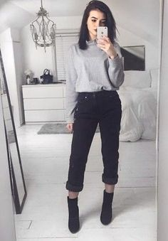Women's Grey Turtleneck, Black Boyfriend Jeans, Black Suede Ankle Boots