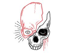 Illustration of my mind, split between anxiety and depression. Skull Artwork, Skull Painting, Skull Tattoo Design, Skull Tattoos, Art Tattoos, Tattoo Drawings, Tattoo Sketches, Skull Drawings, Tattoo Illustrations