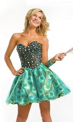Short Strapless Peacock Print Dress at PromGirl.com