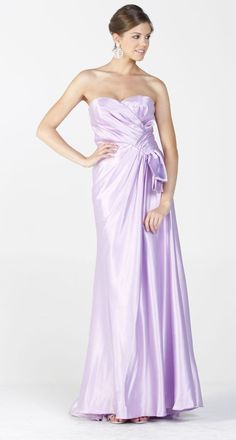 Lilac Bridal Long Satin Formal Dress Classy Evening Gown Strapless   64,99$