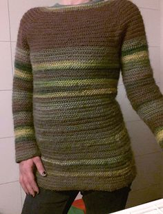 "Needlebound / nalbound sweater made with multi-coloured Odin yarn from Viking using the Oslo stitch, by Lene Fresvig. Started from the bottom of sweater and each sleeve, then assembled in raglan style from armpit and working around upwards, making decreases front and back at raglan ""seam"" lines. Posted 2016-01-29  [in Danish] Nålebinding group @ Facebook. Please see link for original post!"