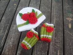 Baby Hats, Flower Hat, Children Hat, White Hat, crochet hats, knitted hat, Christmas hat, Baby Gloves, Knit Mittens, Children Gloves
