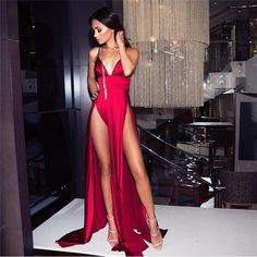 Womens Fashion Red Satin V Neck Padded Two High Splits Backless High Rise Floor Length Maxi Dress