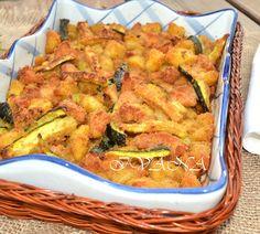 С нож и вилица в ръка: Панирани пилешки хапки, картофи и тиквички на фурна