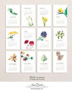 2016 Wall Calendar Calendar Flowers and Foliage by SabrisStudio