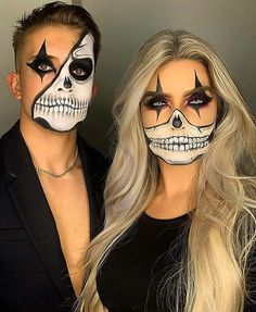 Maquillage Halloween Clown, Halloween Skull Makeup, Amazing Halloween Makeup, Halloween Eyes, Halloween Makeup Looks, Halloween 2020, Halloween Make Up Ideas, Skull Face Makeup, Creepy Makeup