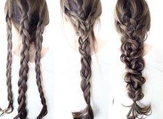 benötigen nur: Drei Haargummis Einen Kamm  Anleitung:  1. Teilen Sie die Haare in drei auf und flechten Sie alle drei Teile. 2. Flechten Sie alle drei Zöpfe zu einem dicken Zopf und binden Sie diese mit einem Haargummi zusammen. 3. Lockern Sie die Zöpfe aus.