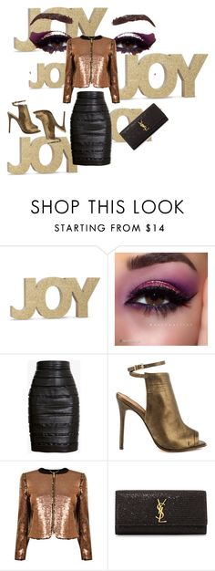 G for the glitter contest by nektaria-frantzh on Polyvore featuring Ted Baker, Balmain, L.A.M.B. and Yves Saint Laurent