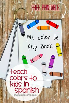 Teach colors to kids in Spanish with printable flash cards