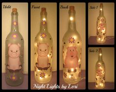 Cute Pigs Wine Bottle Night Light