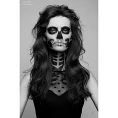 SHE-HAS-waited-TOO-LONG-skeleton-makeup-3 ❤ liked on Polyvore