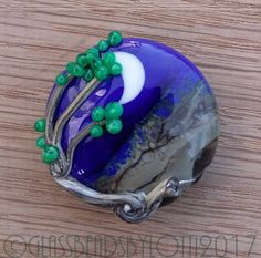 Lampwork glass lentil focal bead, 'Windy tree on a new moon night'. SRA by GlassBeadsbyLotti on Etsy