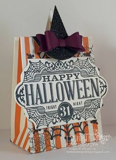 Stampin' Up! Witch's Night.Gift Bag Punch Board and a 3D Witch Hat on a Clothespin. Debbie Henderson, Debbie's Designs
