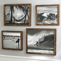 Love this for the kids surf themed bathroom! But black and white pictures from our beach trips! Black And White Surf Prints pbteen - Home Decorating Magazines Decoration Surf, Surf Decor, Surf Style Decor, Wall Decor, Surf Style Home, Black And White Beach, Black And White Pictures, Black And White Picture Wall, Surf Vintage