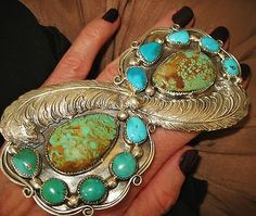 CHAVEZ-EXTRAORDINARY-HUGE-FEATHERS-TURQUOISE-RING-85-grams-Sterling-Silver
