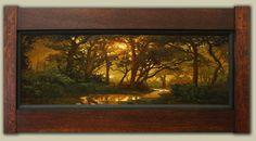 """Freshly Awakened Day"" | Jan Schmuckal | Dard Hunter Studios frame | Craftsman | Bungalow | Tonalism | Impressionism | Landscape | Creek | Sunrise"