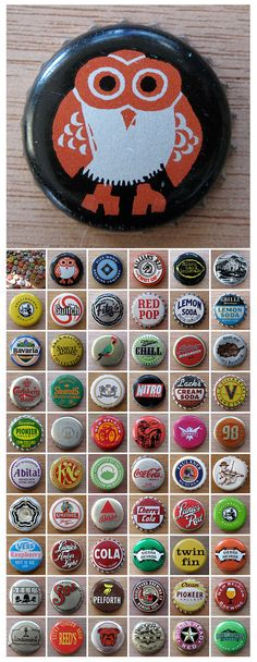 bottle caps! I have most of these, but there are a few that are really cute that I've never seen before...challenge accepted.