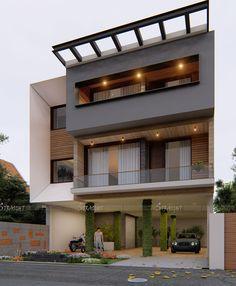 3 Storey House Design, Duplex House Design, House Front Design, Modern House Design, Modern Minimalist House, Minimalist Architecture, Residential Architecture, Architecture Design, Grill Door Design
