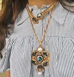 Chokers and Statement pendants  We've done some simple chic layering with this look. #CalypsoPendant #Prerto #Love #Fashion #Style #Trend #Statement #AboutALook #Jewelry #Luxury