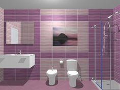Model de design pentru baie folosind colectia de gresie si faianta Maxima Purple. Mai multe idei de amenajare pe site-ul: www.castilio.ro. Toilet, Sink, Bathtub, Interior Design, Bathroom, Furniture, Home Decor, Ideas, Colorful Bathroom