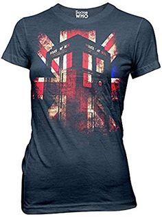 Amazon.com: Doctor Who Tardis Union Jack Juniors T-shirt: Clothing