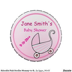 Adorable Pink Stroller Mommy-to-Be Baby Shower Jelly Belly Candy Tins