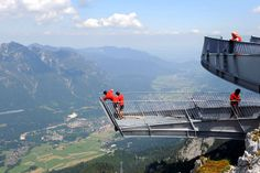 GERMAN ALPS  The new 13m AlpspiX viewing tower offers incredible panoramic views of Hoellental and Garmisc in the Garmisch-Partenkirchen region of Germany. With a 1000 metre drop to the bottom of the German Alps, the viewing platform is not for the faint hearted.  Picture: AFP