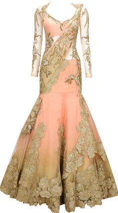 Peachy pink embroidered lehenga sari by Gaurav Gupta. It's like a mermaid gown but Desi style! Indian Bridal Wear, Indian Wedding Outfits, Pakistani Bridal, Indian Wear, Indian Outfits, Bridal Lehenga, Lehenga Sari, Saree Gown, Anarkali
