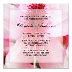 Soft Pink Rhododendron Flowers 90th Birthday Party Card