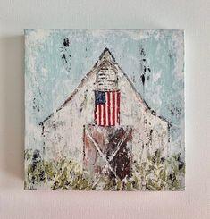 Farmhouse Paintings, Farm Paintings, Canvas Paintings, Flag Painting, Diy Painting, Canvas Designs, Canvas Ideas, Barn Art, Mini Canvas Art