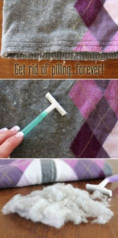 Finally a way to get rid of pilling on your sweaters! Just in time for winter, run a plain razor over the pilling and watch your sweaters come back to life. Super helpful trick everyone needs to know about!