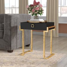 Willa Arlo Interiors Neria Sled End Table with Storage Color: Black Lacquer Diy End Tables, End Table Sets, End Tables With Storage, Bedroom Turquoise, Gold Bedroom, White Table Top, Modern Side Table, Metal Furniture, Western Furniture