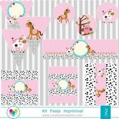 Kit Festa Imprimir - Fazendinha para menina mod:410