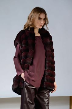 Plum Dyed Chinchilla Fur Vest