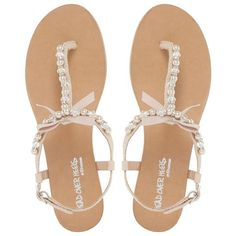 Head Over Heels by Dune Natural 'Leonia' pearl trim t-bar flat sandals ($42) ❤ liked on Polyvore featuring shoes, sandals, t-strap shoes, flat shoes, t strap thong sandals, t-strap sandals and flat thong sandals