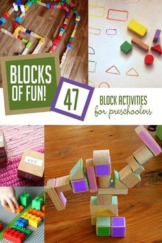 Art therapy activities for preschoolers Lots of block activities for preschoolers and even toddlers using common blocks that are found in most homes - wooden blocks, Legos, and ABC blocks. Outdoor Activities For Kids, Toddler Activities, Crafts For Kids, Art Therapy Activities, Preschool Activities, Listening Activities, Motor Activities, Happy Mom, Happy Kids