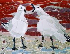 Playful Seagulls Mosaic by Elizabeth Veglia