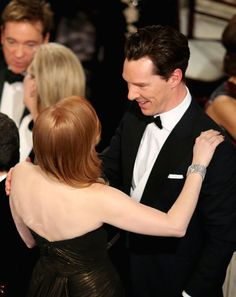 Pin for Later: Go Inside the Star-Studded Golden Globes  Benedict Cumberbatch and Jessica Chastain shared a moment.