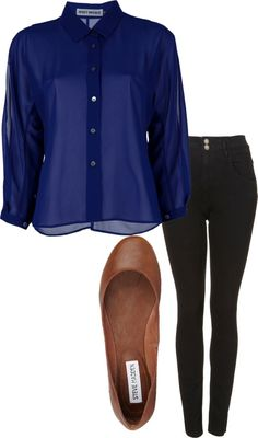 Eleanor Calder inspired outfit for the first day of school  Issey Miyake tall shirt, $345 / Super skinny jeans / Steve Madden stiletto high heels