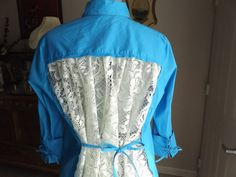 BLOUSE TOP LACE Long Back Blue Altered Couture by MissPoppysFancy