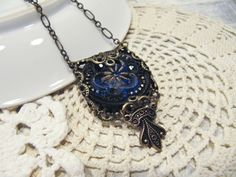 Midnight Blue Glass Button Necklace | Cargoh