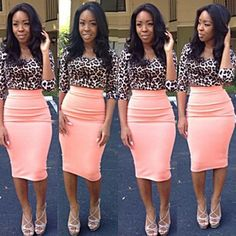 I like the leopard print and coral block marriage. Great idea to work at work ;)